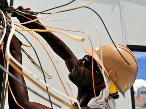 electrician wearing hard hat