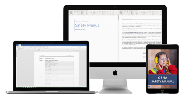 safety manual image on laptop tablet and desktop computer