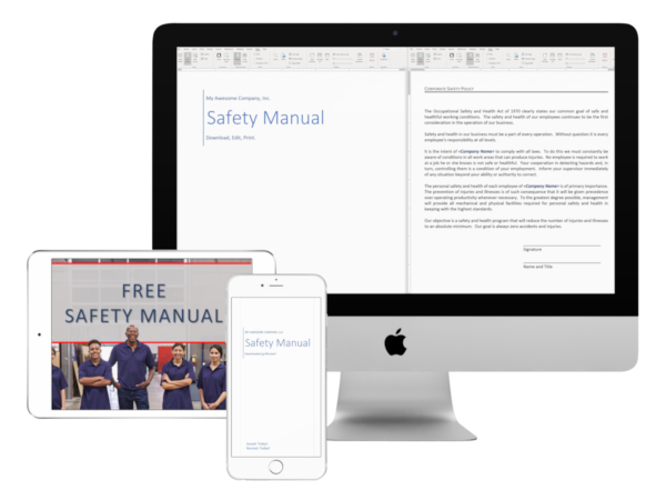 free safety manual image on a phone tablet and desktop computer