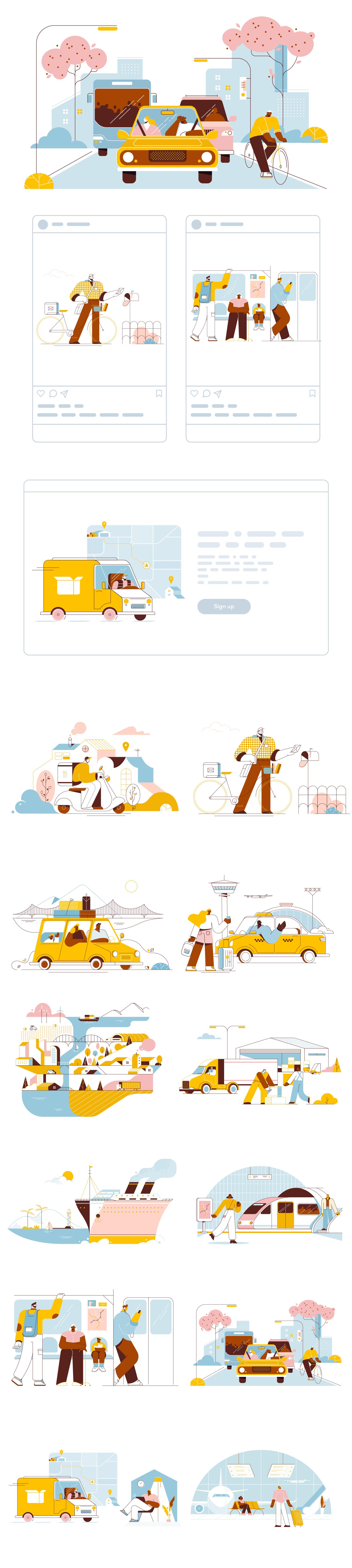 Full grid of free transport vector illustrations