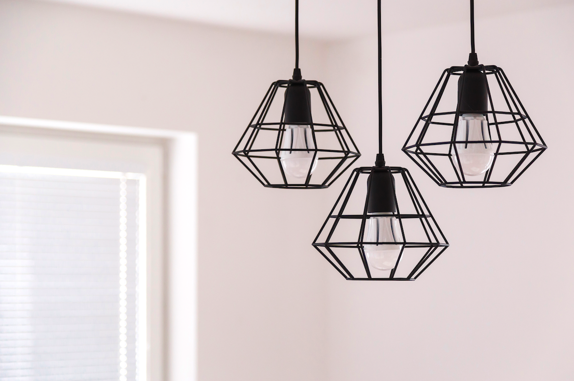 Modern light fixtures in a Utah County home. Built by Utah home builder, Forum Builders.