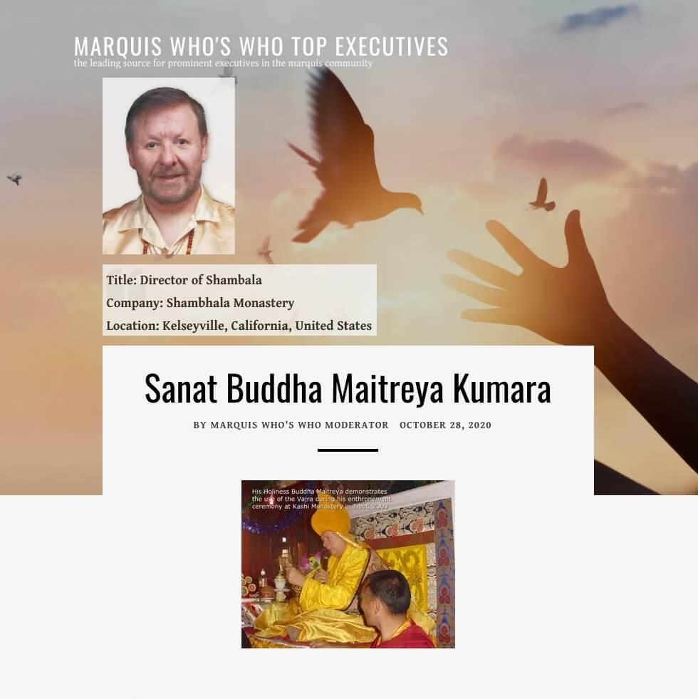 Sanat Buddha Maitreya Kumara, Inductee, Top Professionals of the Year - October 28, 2020