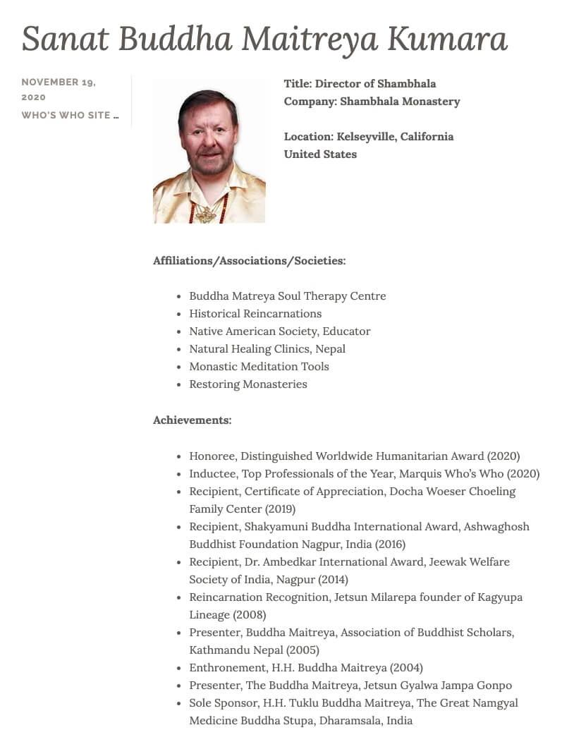 Sanat Buddha Maitreya Kumara Bio for Who's Who Listing