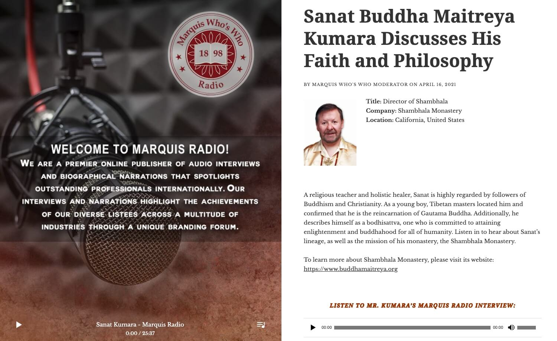 Sanat Buddha Maitreya Kumara Marquis Who's Who Radio Interview April 16, 2021