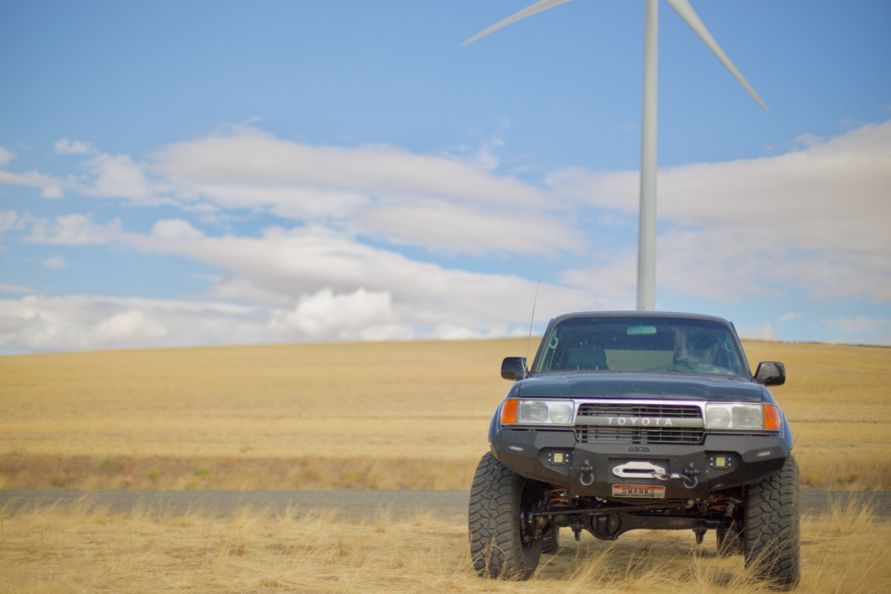 Toyota FZJ-80 in a wind farm.