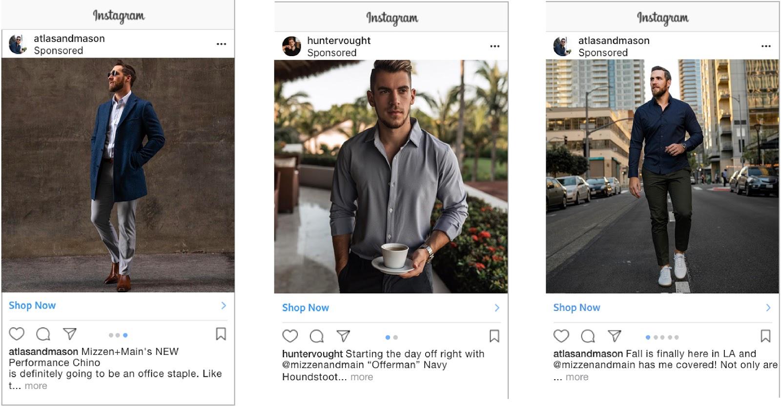 Examples of influencer dark posts