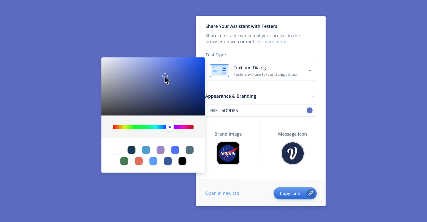 Customize color and add NASA logo into Voiceflow project