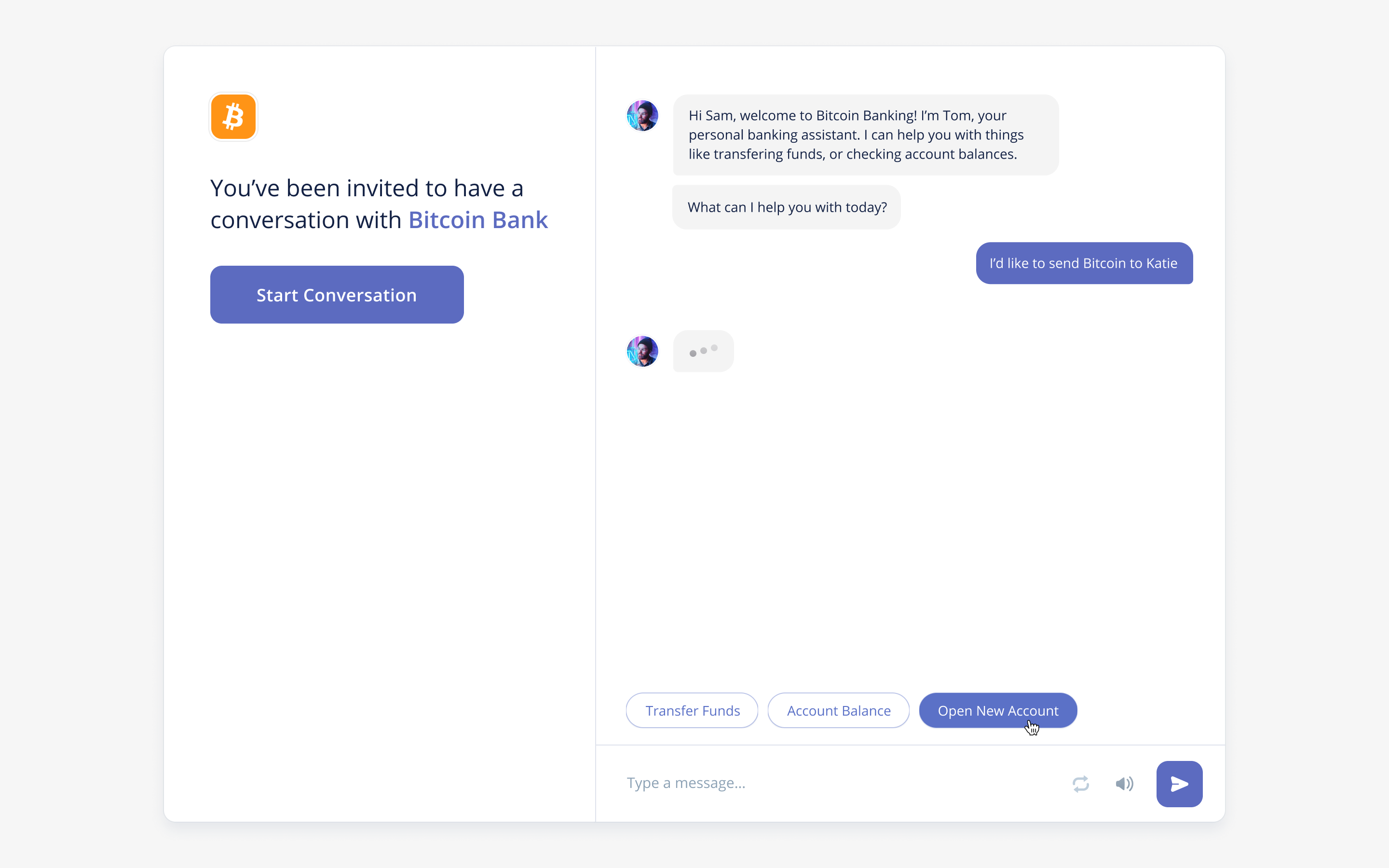 Bitcoin branded chatbot in Voiceflow