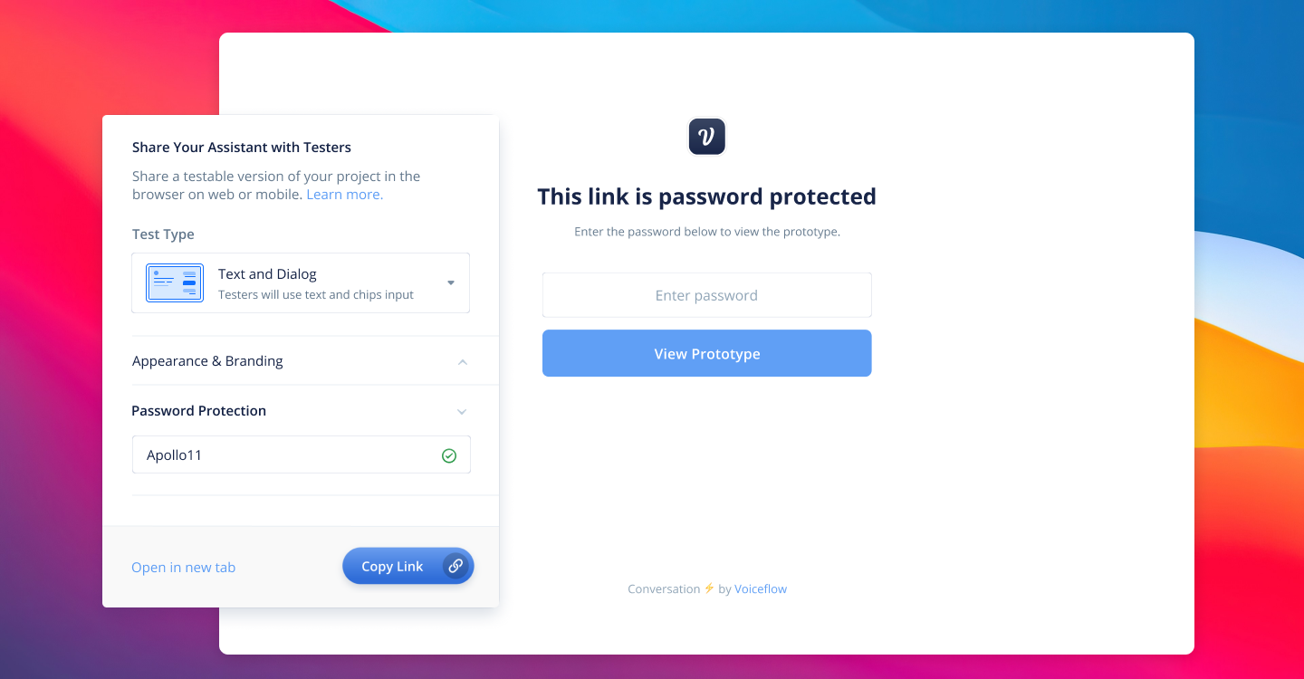 Password protection in Voiceflow