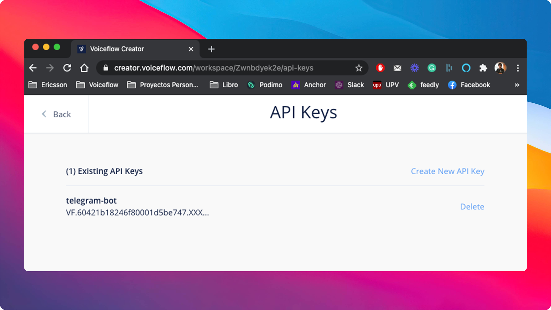 Your new API key is then stored in your project