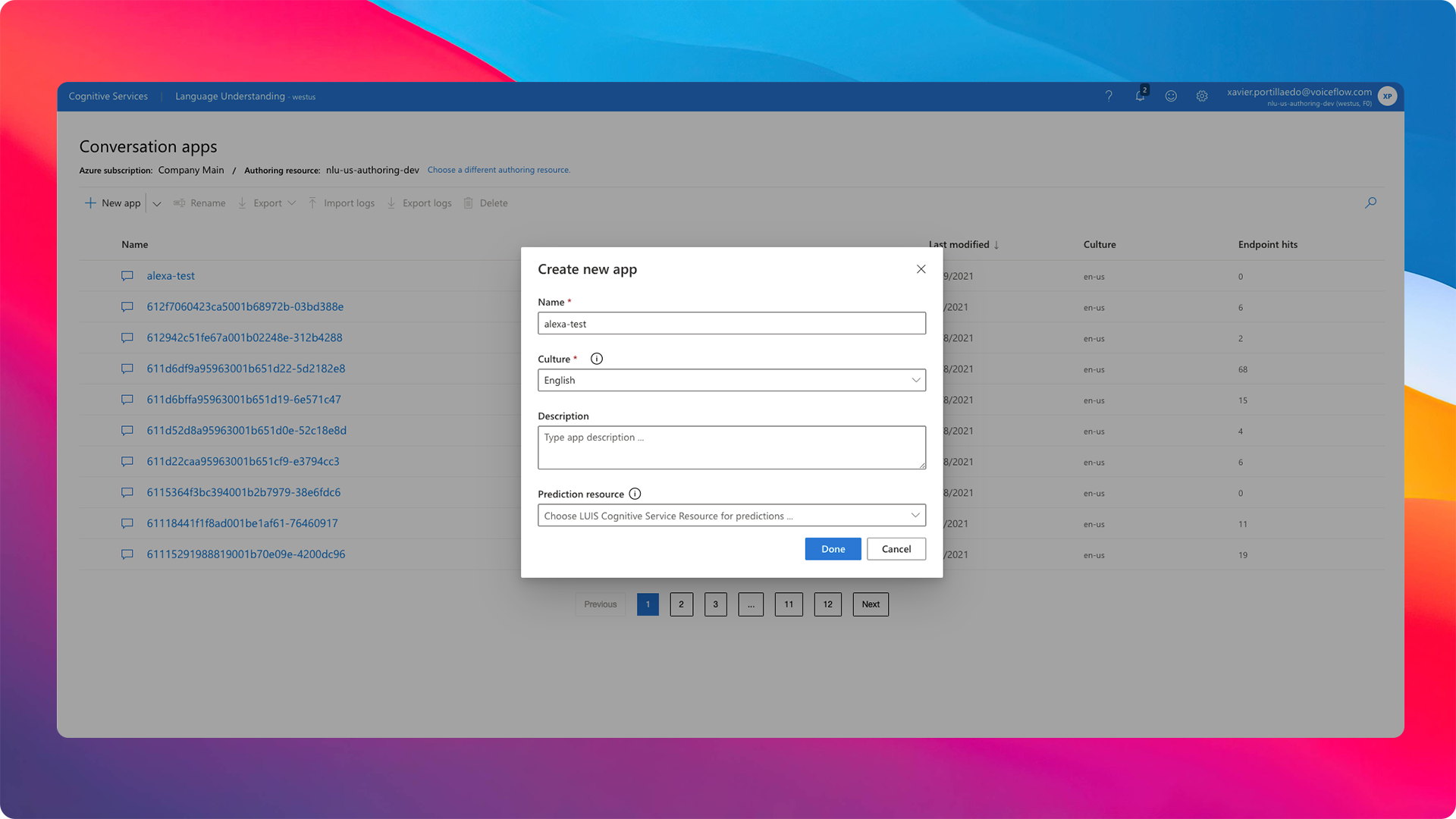 Create your MS Luis App on the Luis Portal