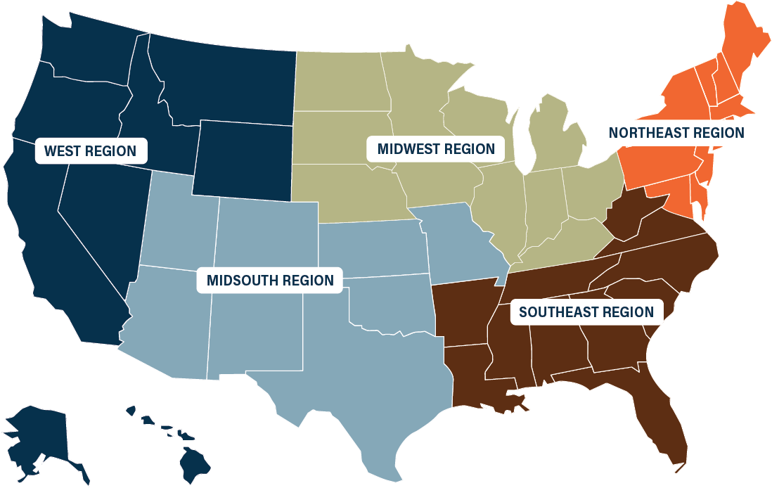 NBB Coverage Map by Region
