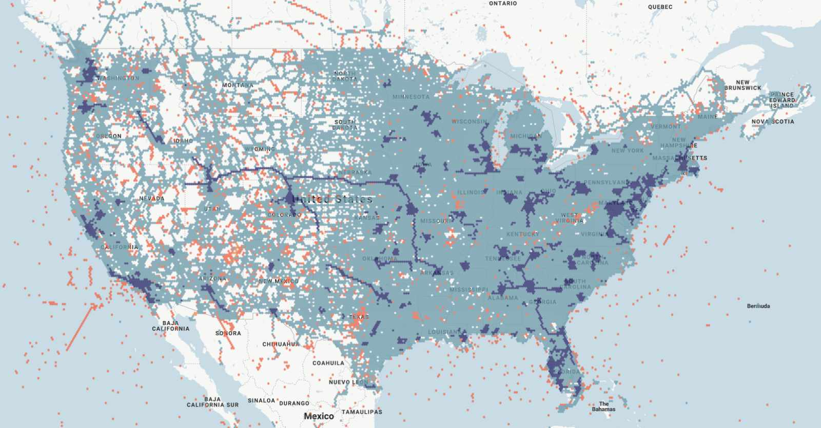 Verizon 4G LTE and 5G coverage map as reported by RootMetrics