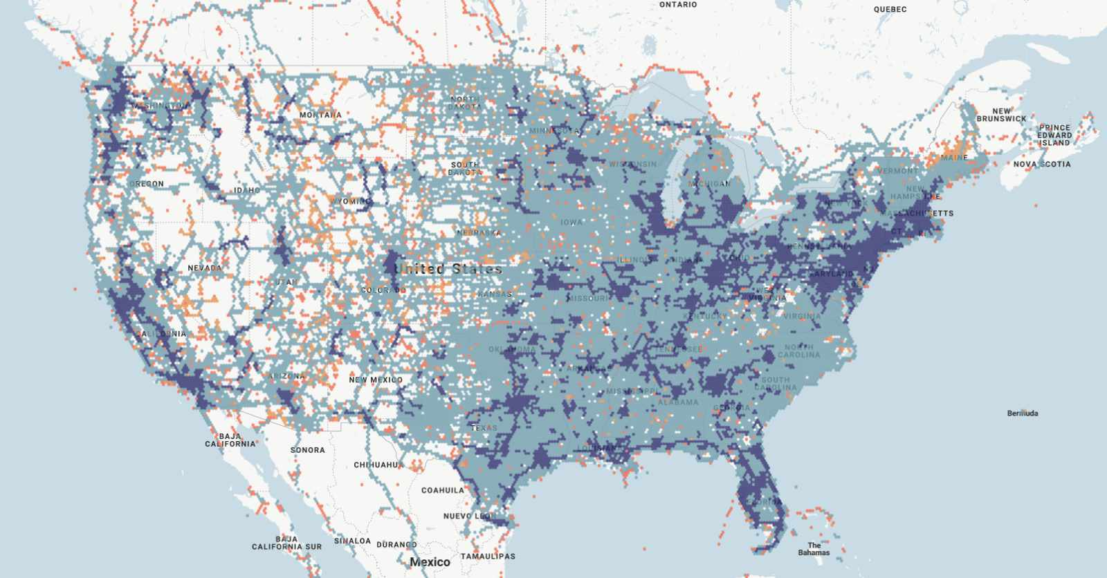 AT&T 4G LTE and 5G coverage map as reported by RootMetrics
