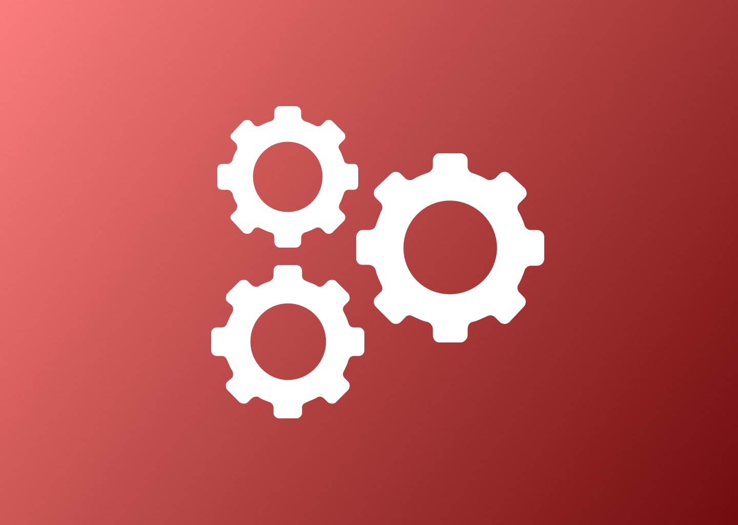icon of gears on red gradient background