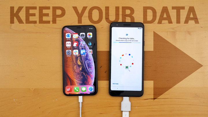 iphone xs and pixel 3a connected via a Lightning cable and a USB-C to USB adapter on a wooden desk