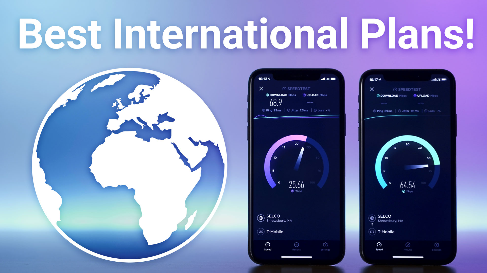 two iphones running a data speed text next to an icon of the earth