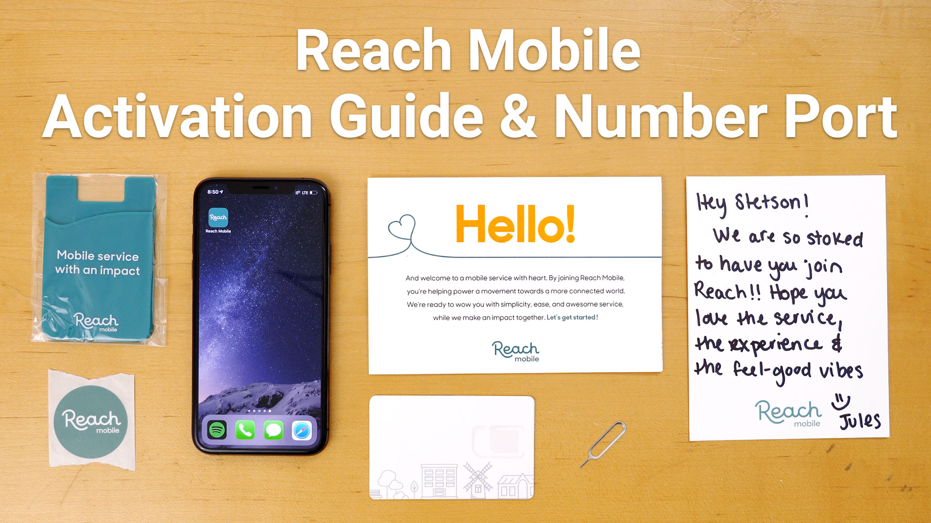 iPhone XS next to Reach Mobile activation kit and SIM card