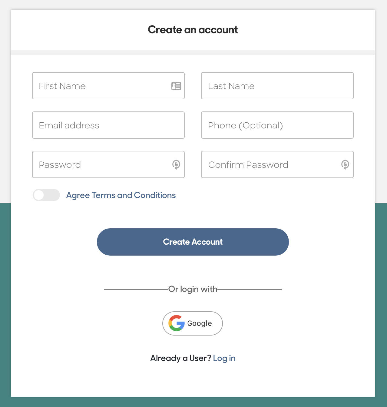 screenshot of creating Reach Mobile account