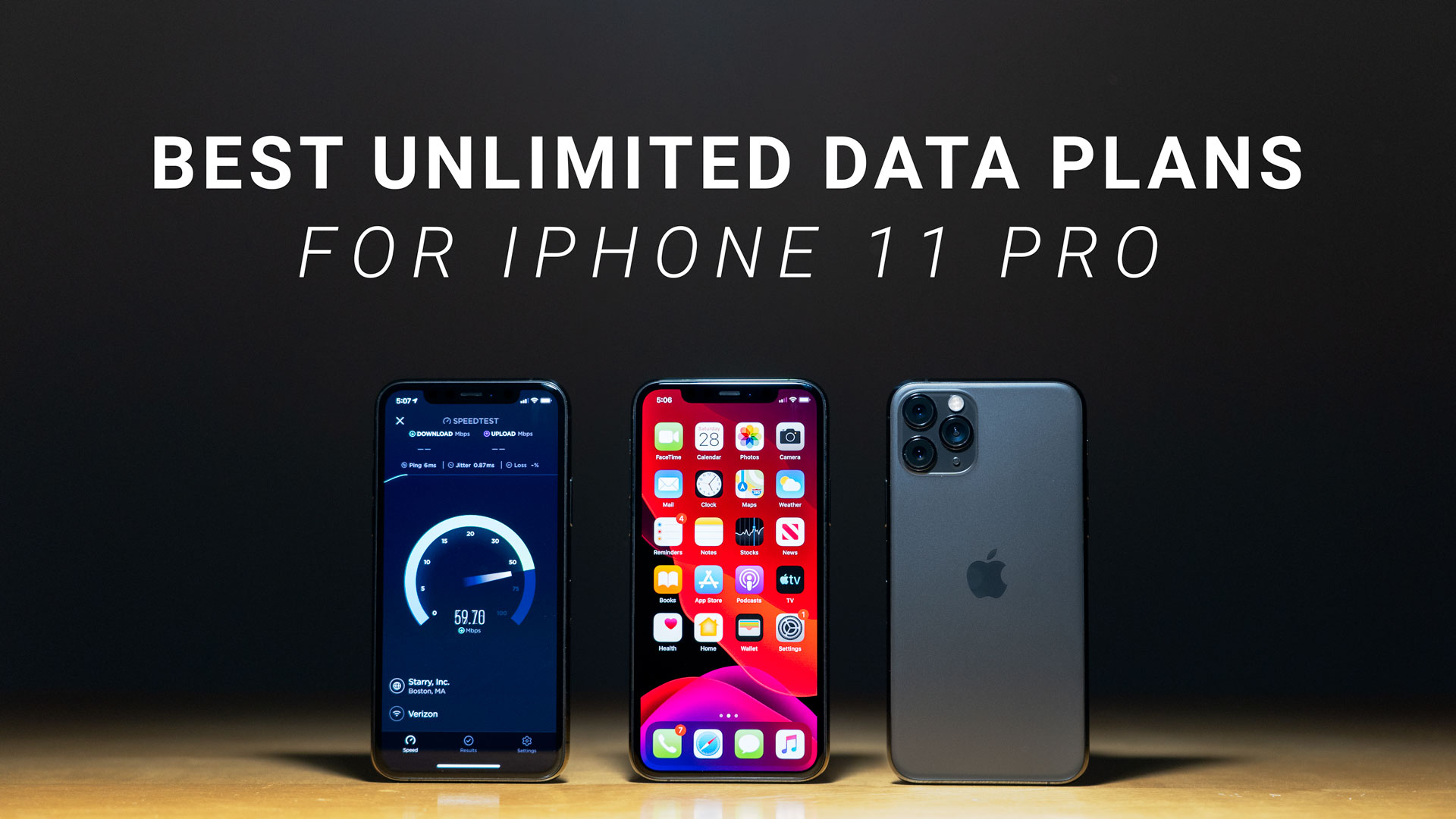 iPhone 11 Pro performing speed test on oak wood desk with dark background and title text above