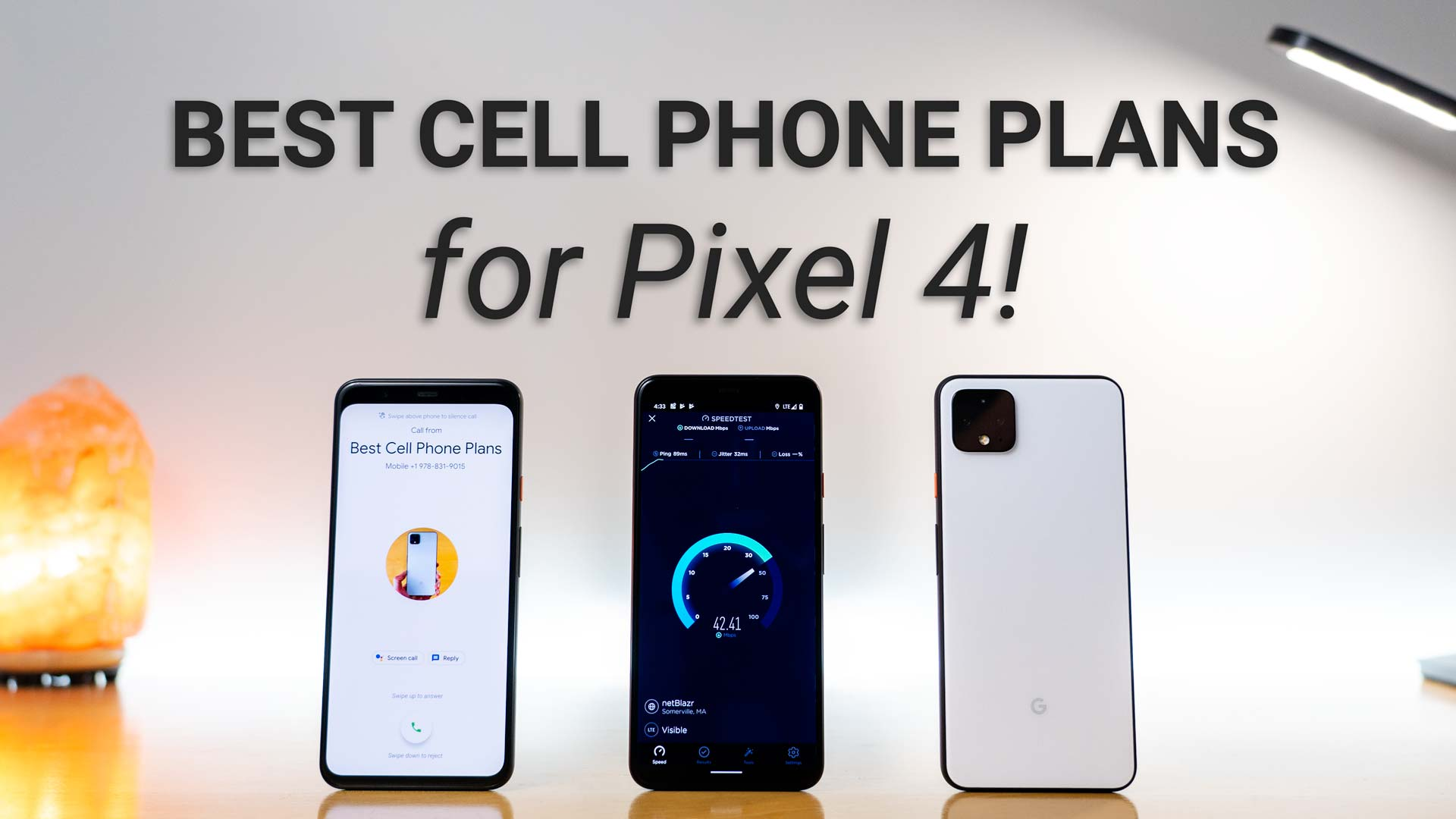 image of pixel 4 receiving a call, performing a data speed test, and of the back of the phone