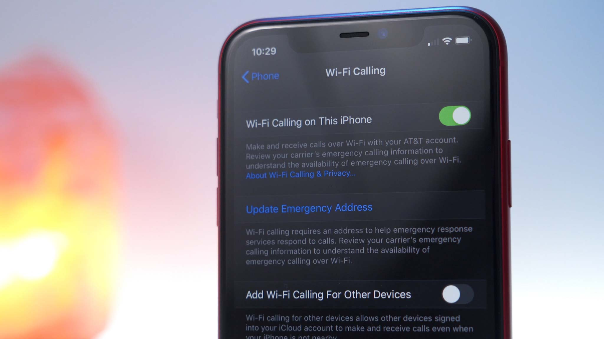 Wi-Fi calling option enabled on iPhone 11 Pro in settings app