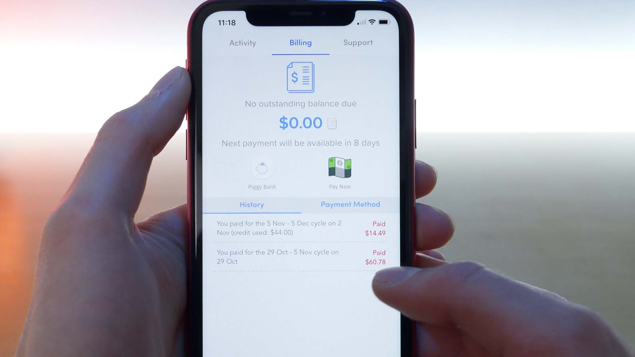 iPhone 11 Pro open to Wing app billing page showing cost of first month of service was $60.78