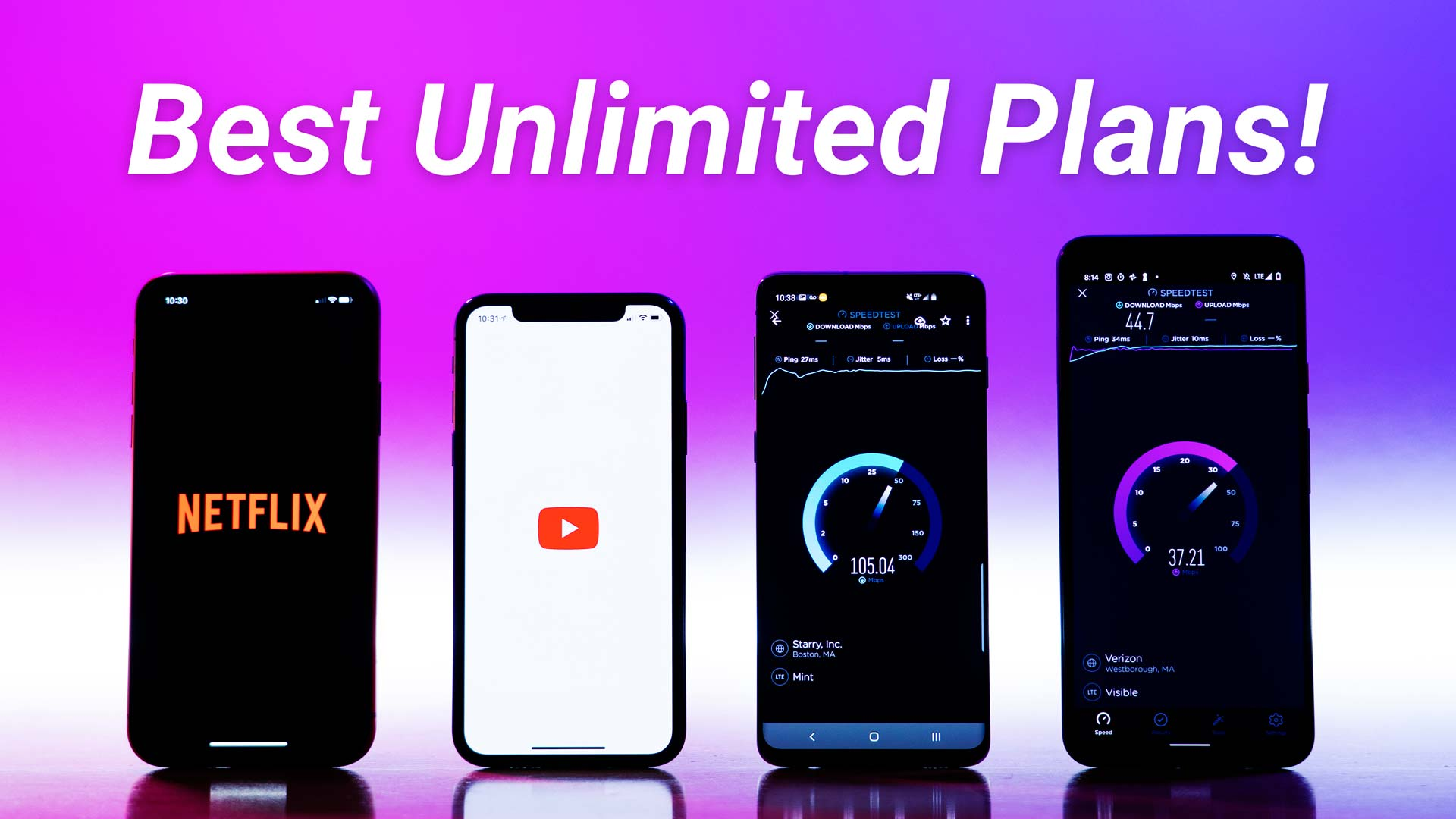 four phones on a desk displaying a Netflix logo, YouTube logo, doing a download data speed test, and doing an upload data speed test