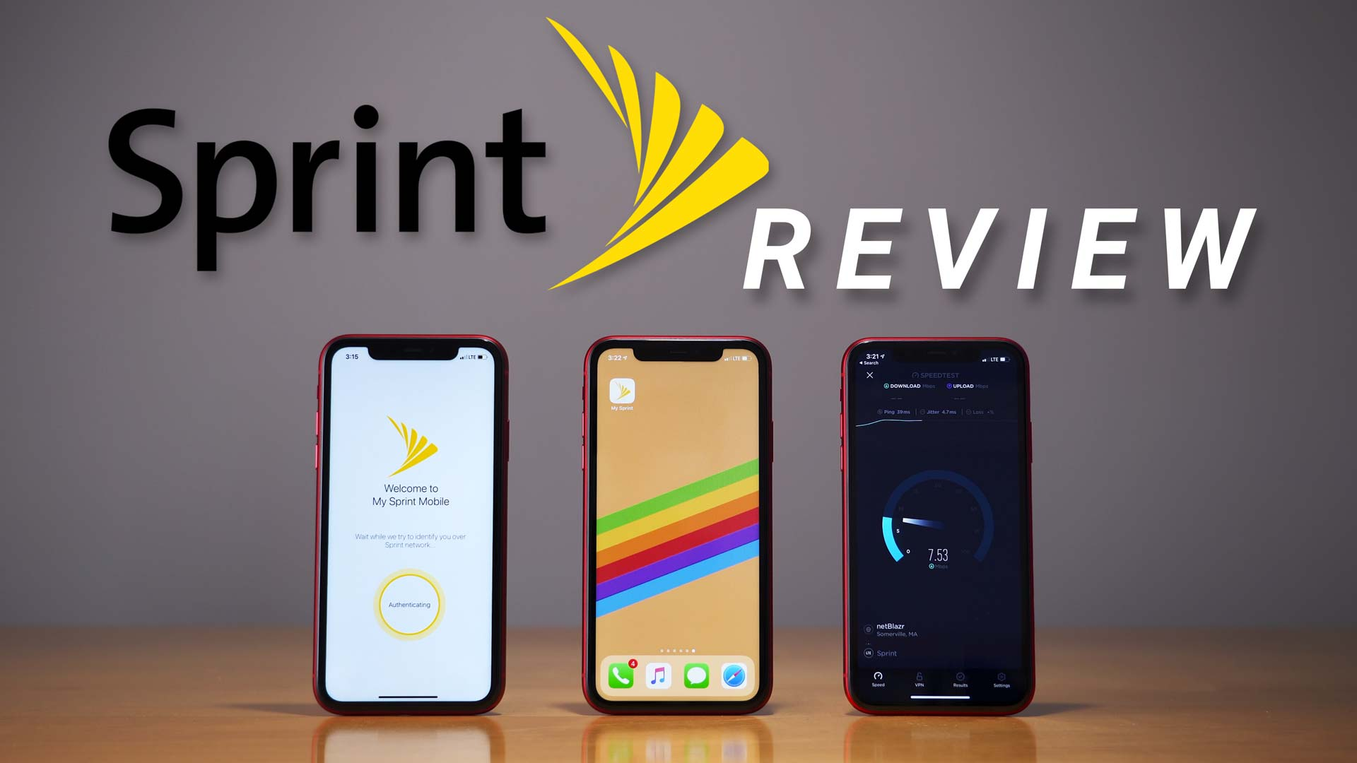 iPhone 11 open to My Sprint app page and another iPhone 11 performing a data speed test on Sprint