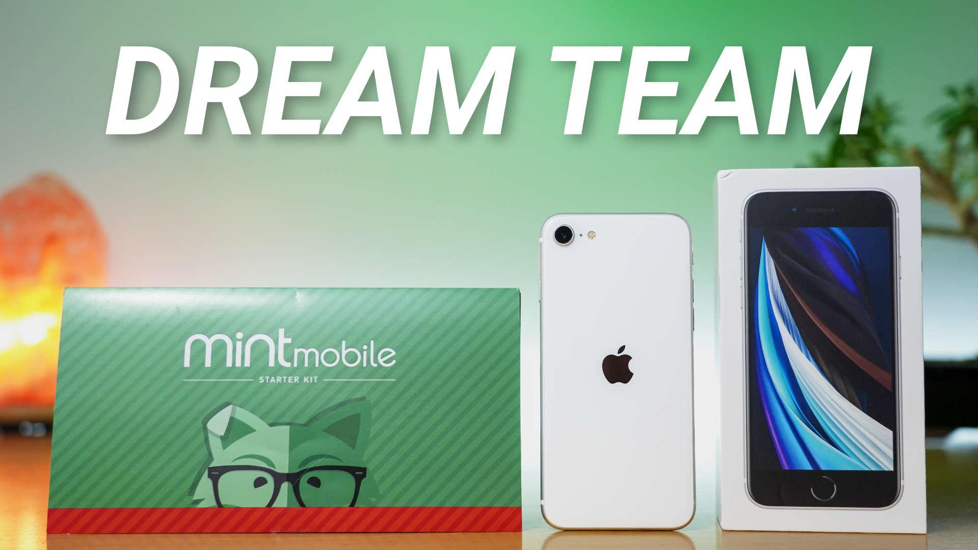 Mint Mobile SIM starter kit next to Apple's new $399 iPhone SE