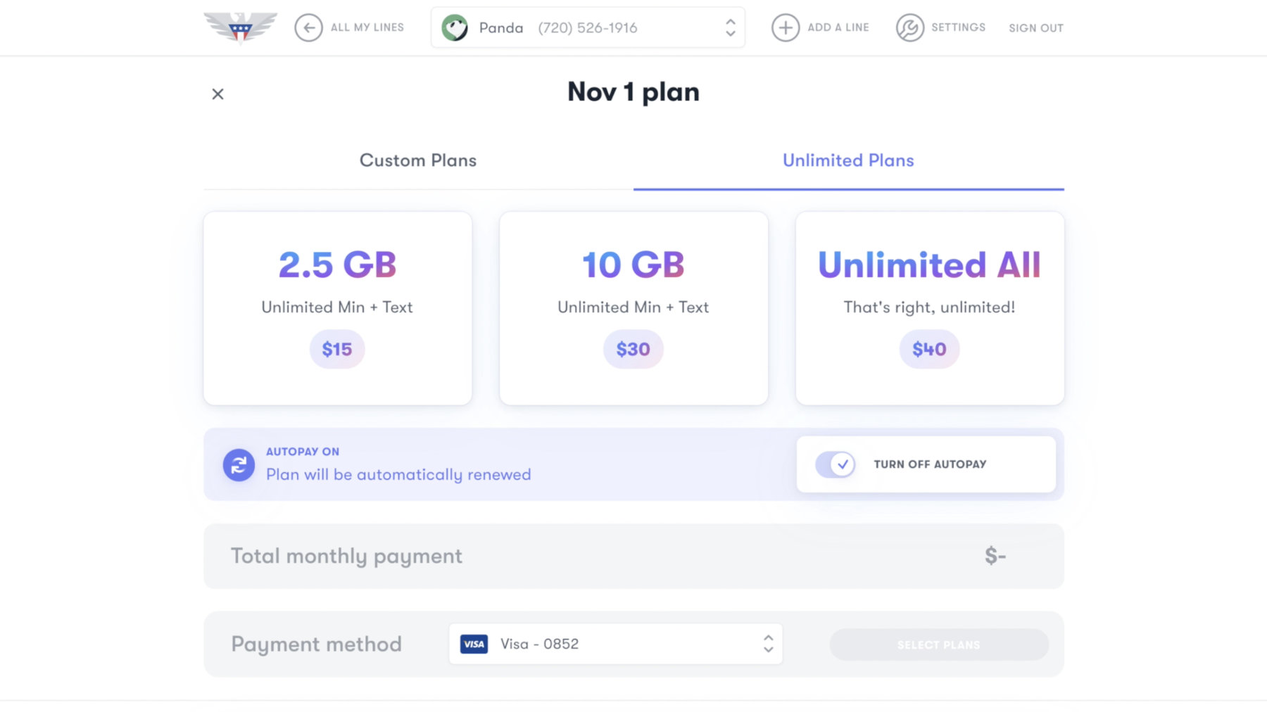 US Mobile's Unlimited plans include 2.5GB for $15, 10GB for $30, and Unlimited All for $40