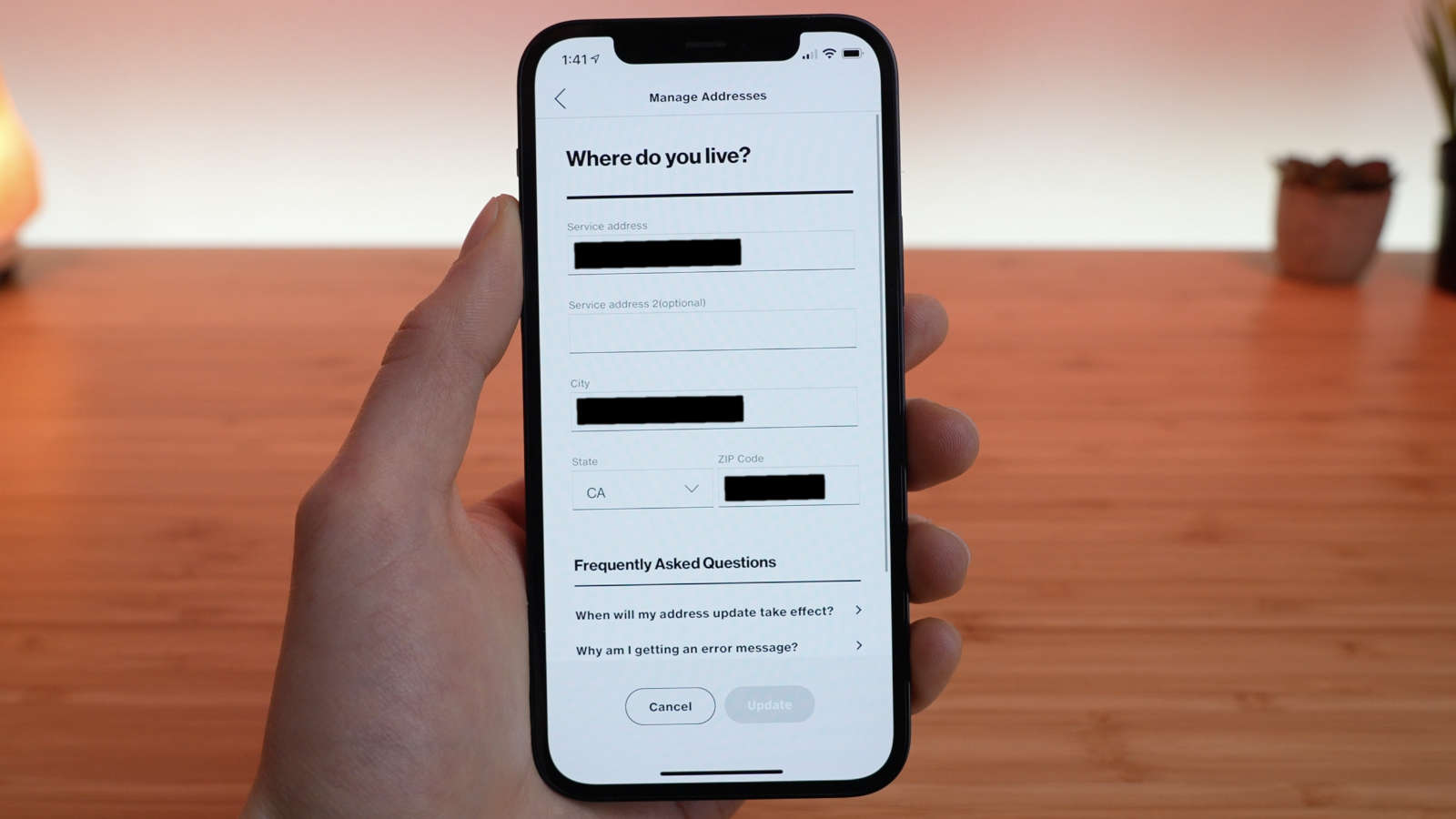 I was able to view the account holder's address in the My Verizon app