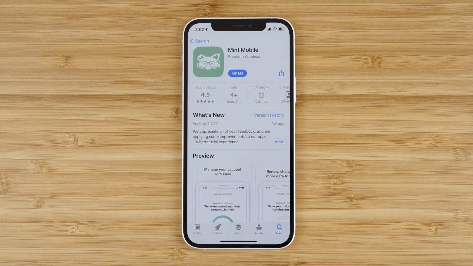 Mint Mobile application on Apple App Store