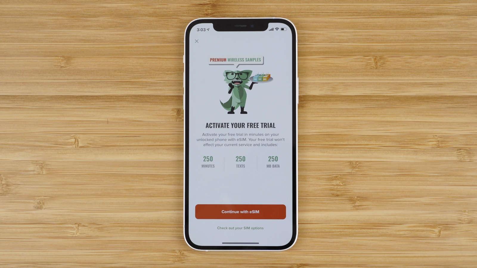 Mint Mobile free trial app screen