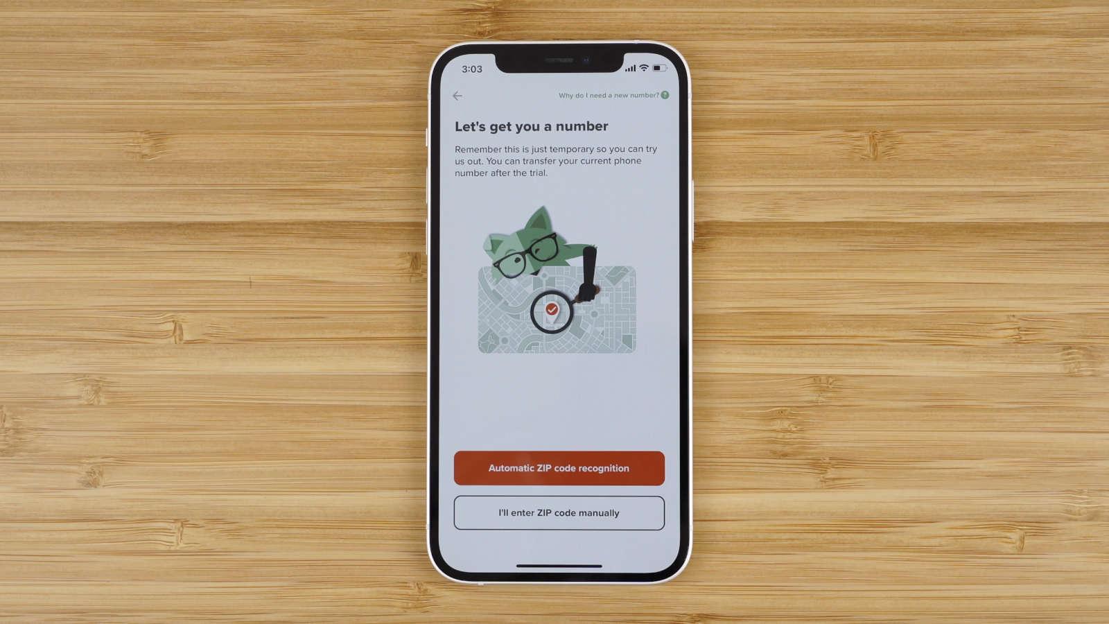 enter your ZIP code in Mint Mobile app