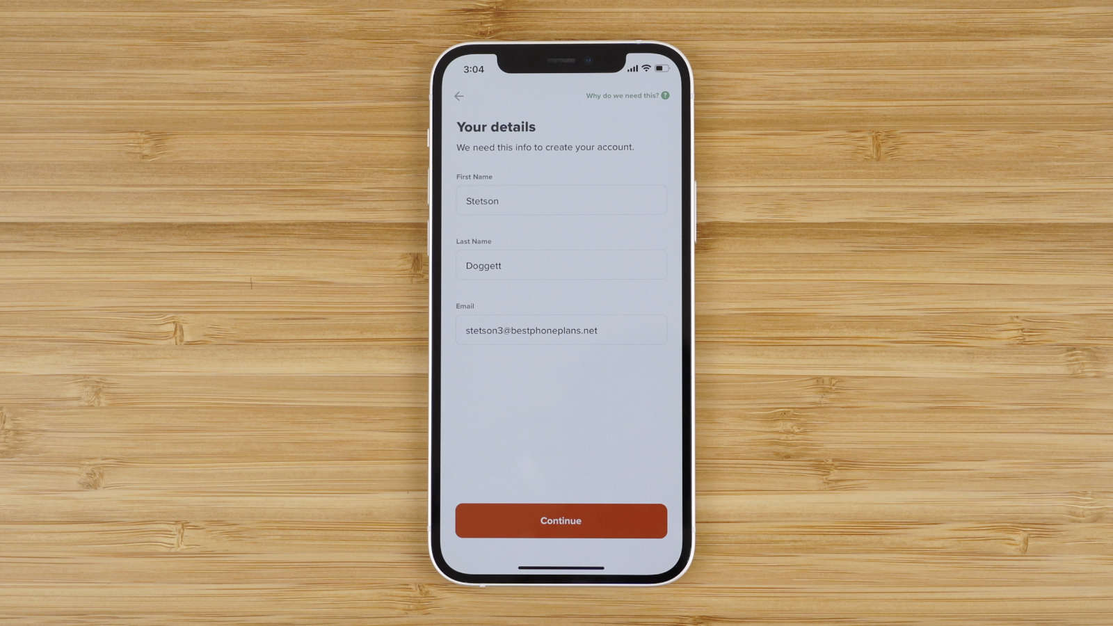create your Mint Mobile account by entering your first name, last name, and email