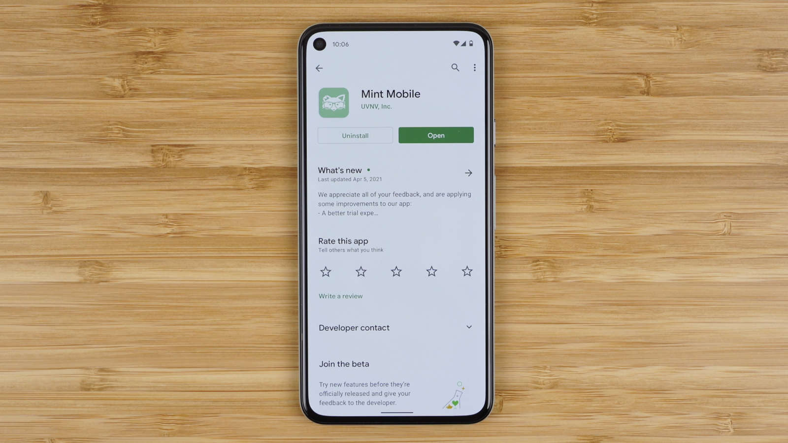 Mint Mobile app on Google Play Store