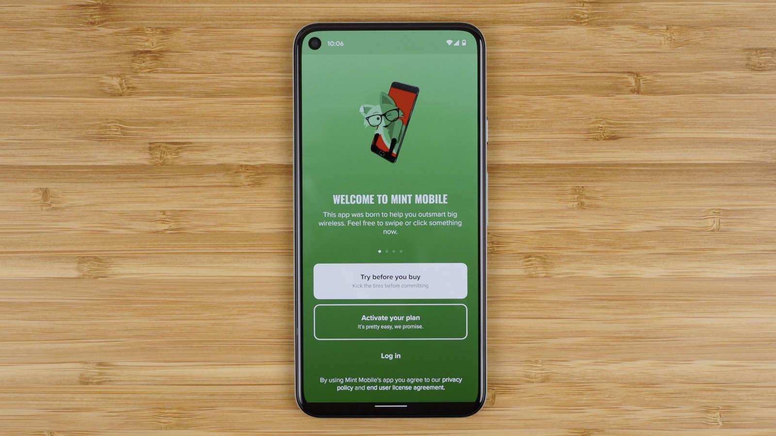 Mint Mobile app launch screen