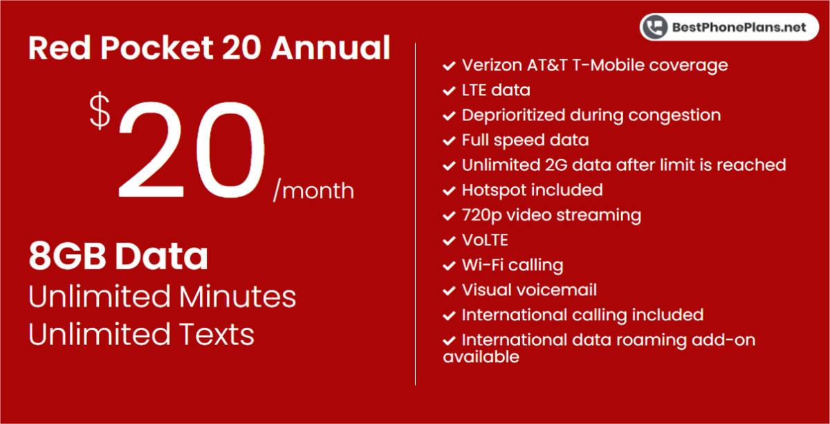 Red Pocket twenty dollar 8GB annual plan