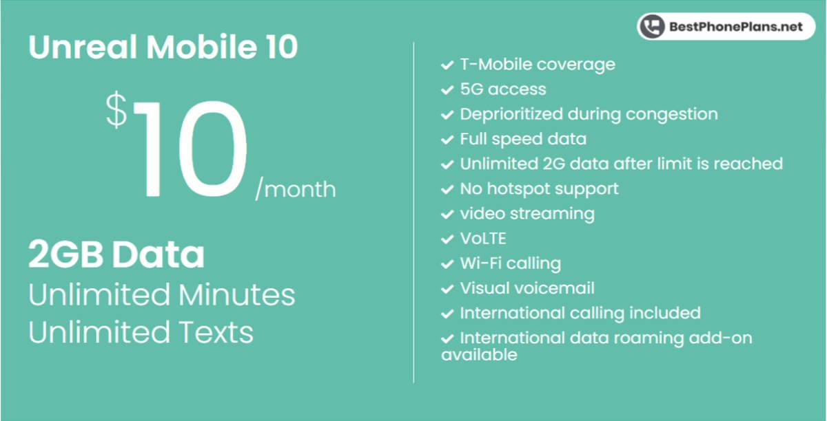 Unreal Mobile ten dollar 2GB annual plan