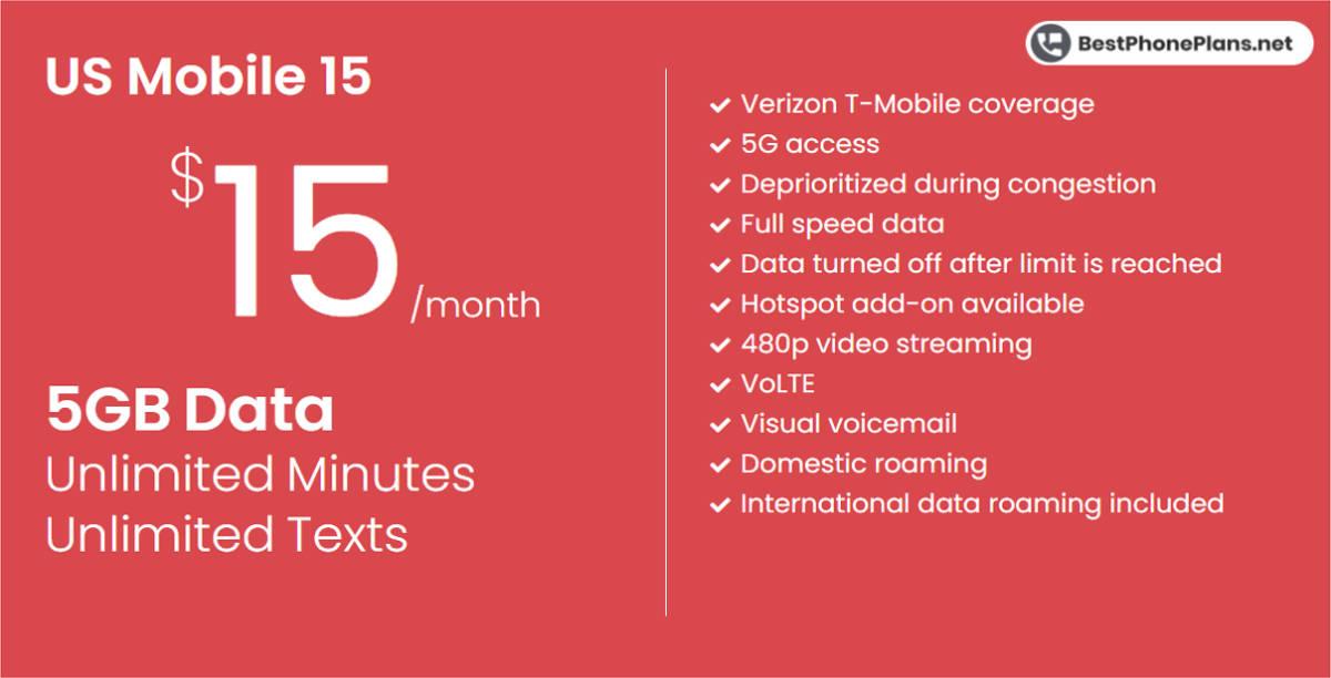 US Mobile's $15 5GB plan infographic