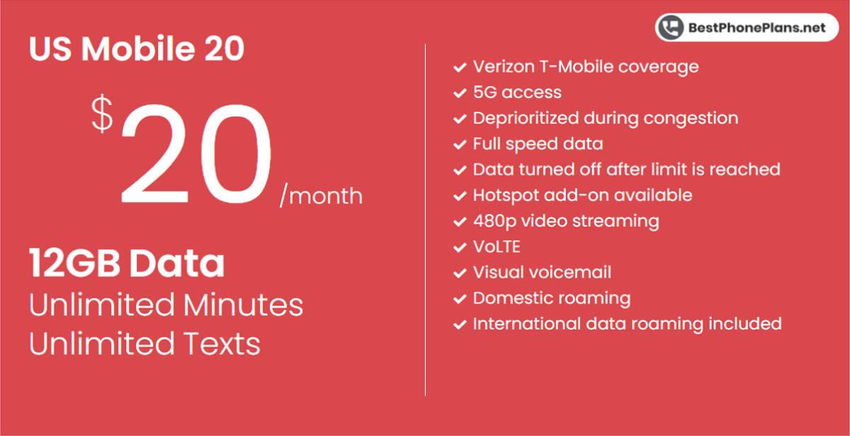 US Mobile twenty dollar 12GB plan