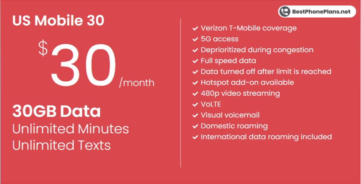 US Mobile thirty dollar 30GB plan