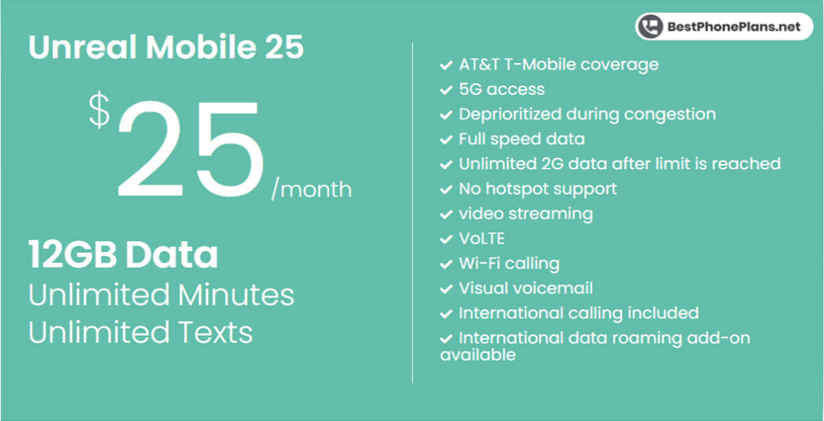 Unreal Mobile twenty-five dollar 12GB annual plan
