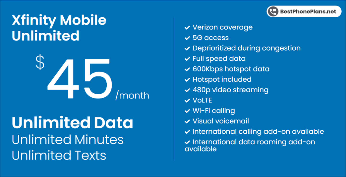 Xfinity Mobile forty-five dollar unlimited plan