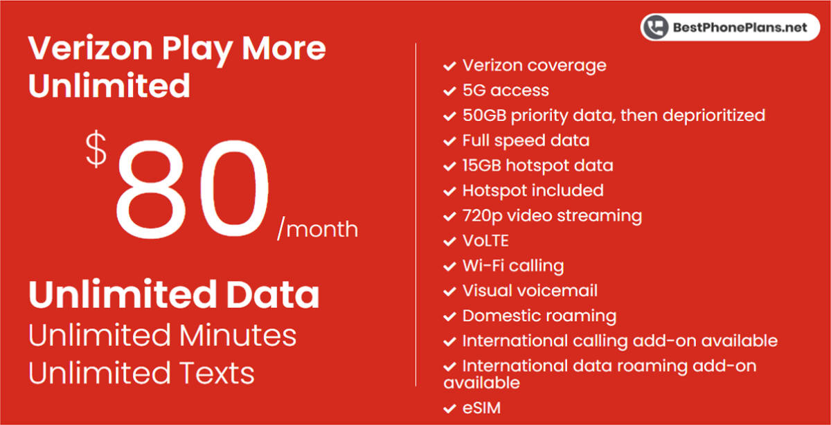 Verizon Play More unlimited data plan
