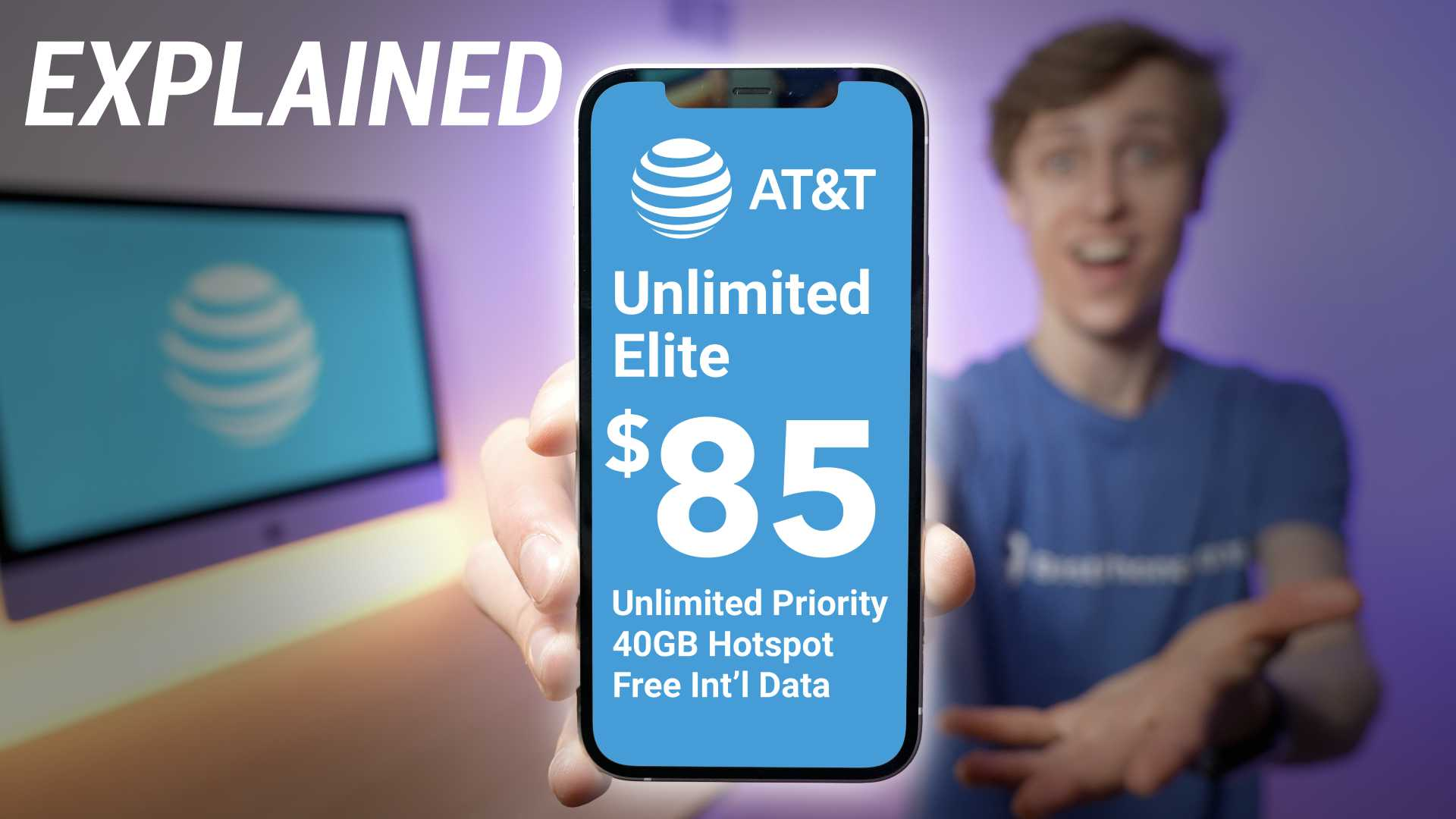 Stetson Doggett holding iPhone 12 with information about AT&T's unlimited elite plan displayed on the phone
