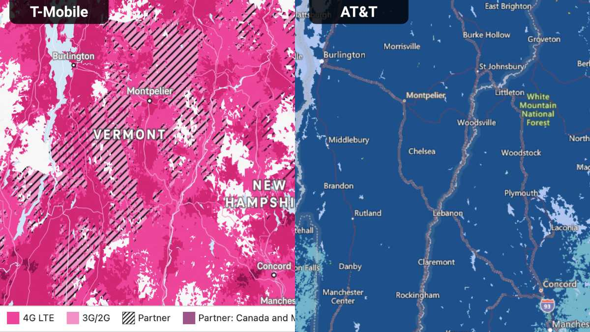 T-Mobile coverage map next to AT&T coverage map to illustrate T-Mobile is roaming on AT&T for coverage in Vermont