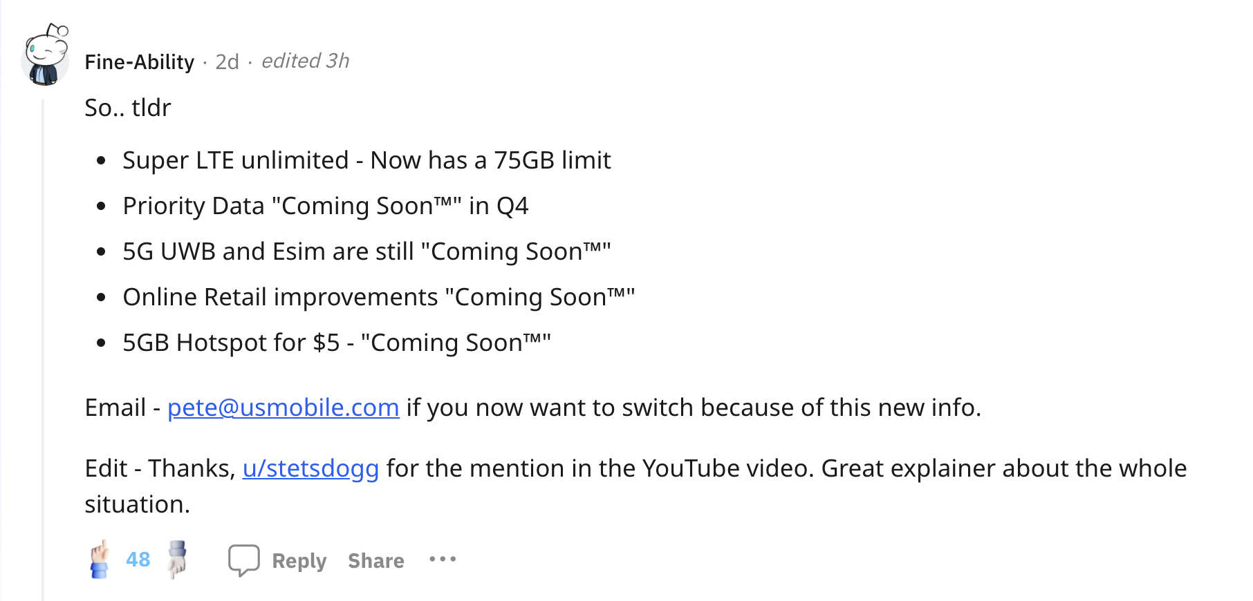 """Reddit user /u/Fine-Ability points out that USMobile has said numerous features are """"Coming Soon"""" without actually launching them"""