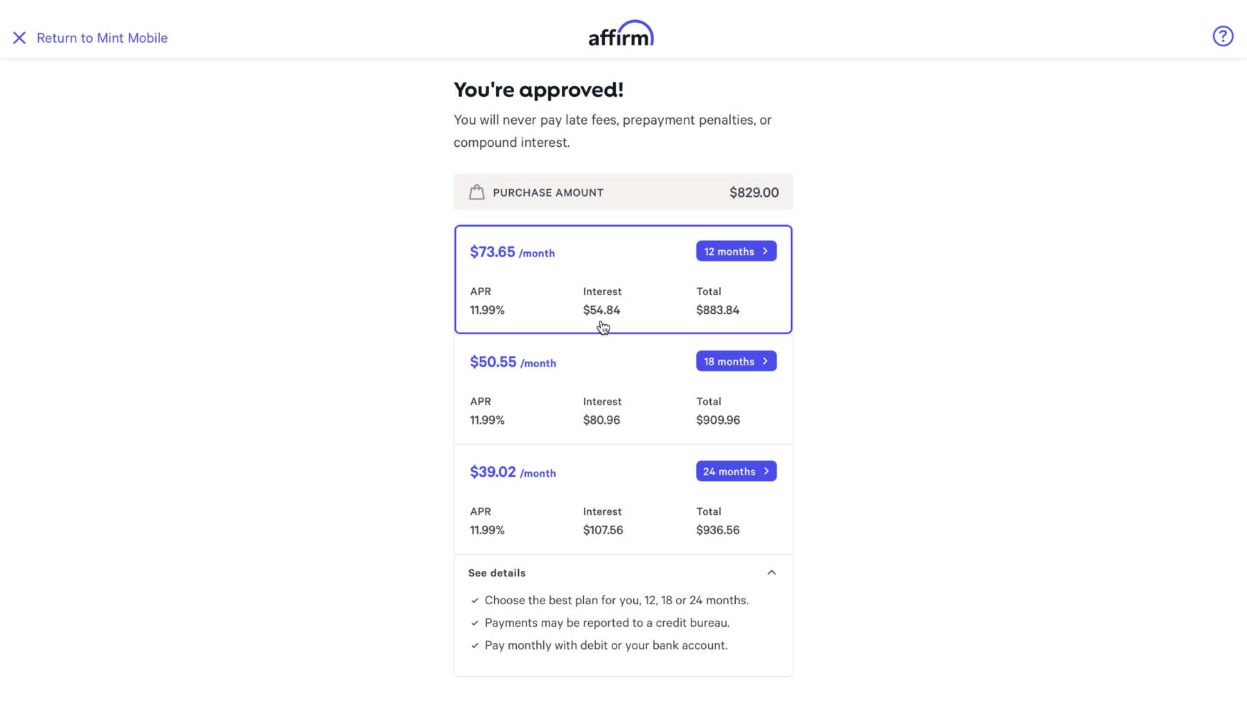 Affirm financing options with Mint Mobile iPhone 12